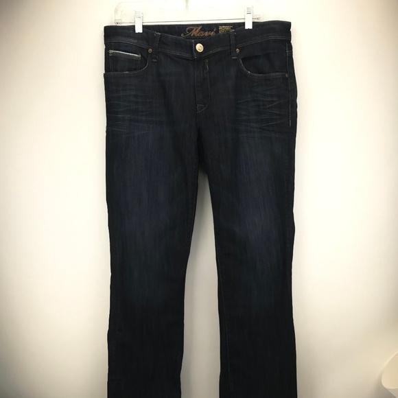 Mavi Molly Straight Mid Rise Size 34/32 Dark Wash